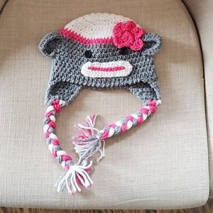 Knitted Hat 12-24 Months New | Sock Monkey